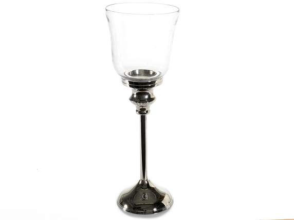 Glass metal cup candle holder