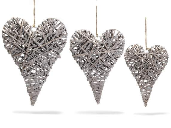 Set of 3 rattan hanging hearts