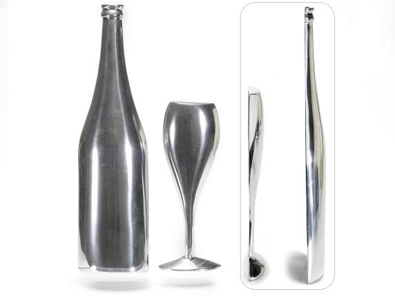 Wall metal bottle and glass set