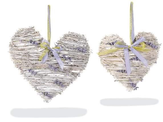 Cuori In Rattan.Set 2 Wicker Heart With Lavender Deco 51 29 67 Art From