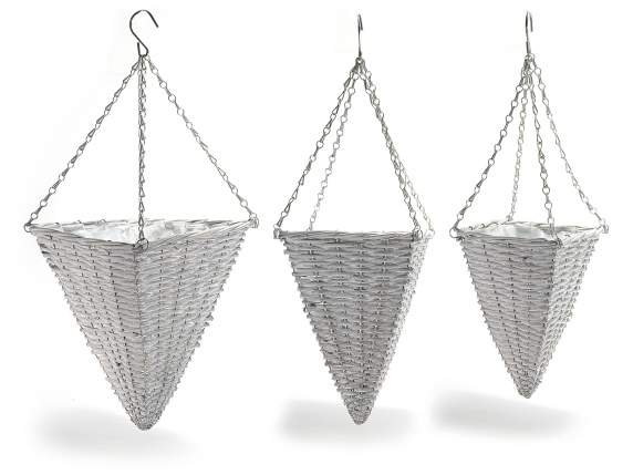 Set 3 hanging conical wicker baskets with hook