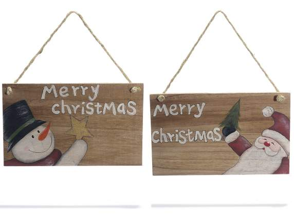 Hanging wooden Christmas sign with written