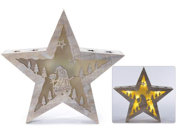 Wooden stars Christmas decoration with light