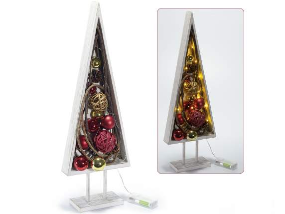 Wooden Christmas trees decorations with white light