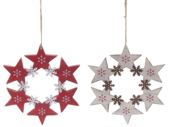 Hanging wooden garlands with stars and snowflakes