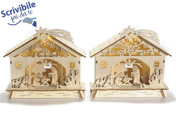 Nativity scene in wood with light