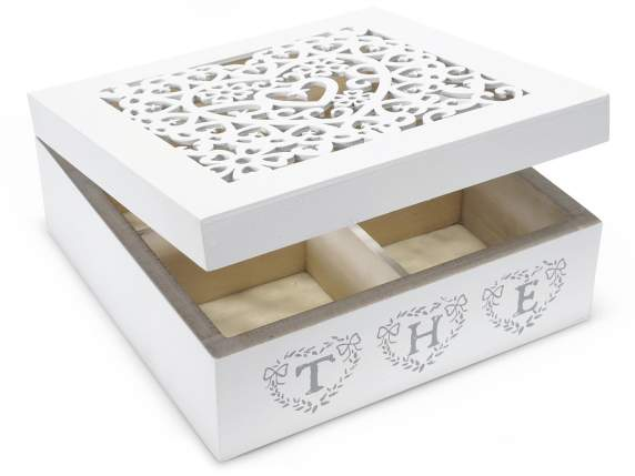 White wood tea - spices decorative 4 sections w-marquetry