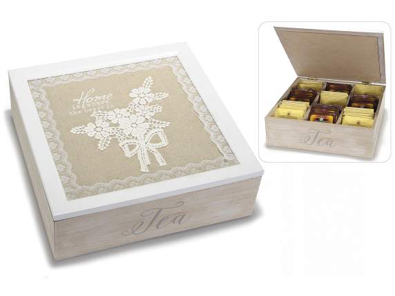 Wooden tea box w-9 compartment