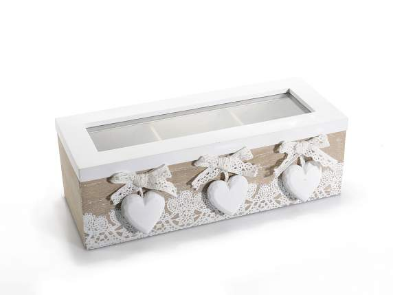 Wooden tea box w-3 compartments and hearts