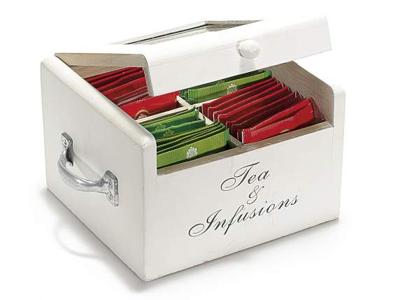 Wood white tea - spices case w-handle and 4 sections