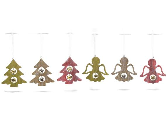 Hanging wooden Christmas decoration with bell