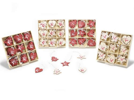 Packages 36 hanging Christmas wooden decorations
