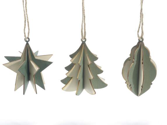 Three dimensional wooden Christmas decorations