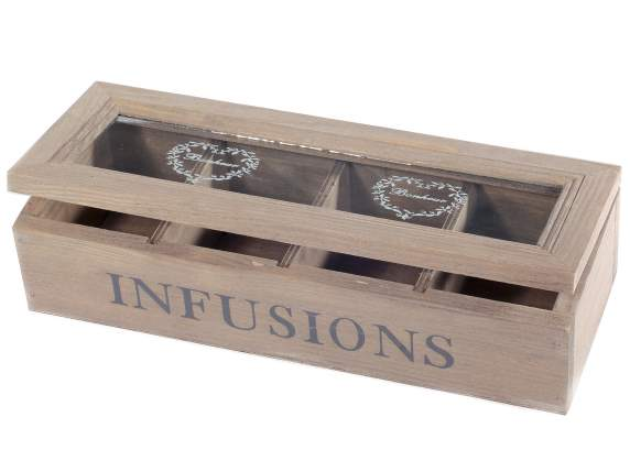 Wooden and glass tea-spice box with 4 compartments