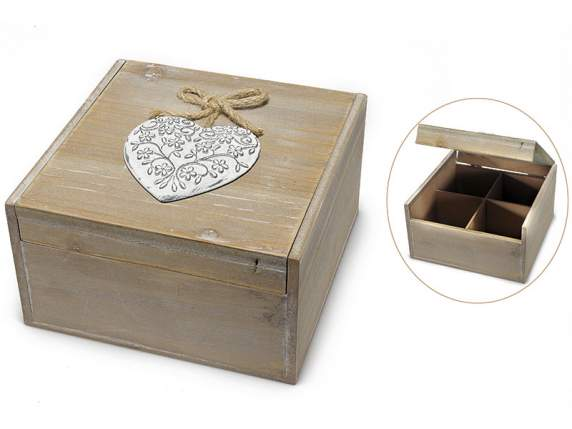 Wooden box 4 compartment with white hearts decoration