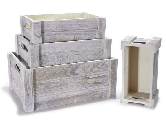 Set of 4 wooden boxes