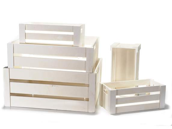 Set 5 white wooden crates