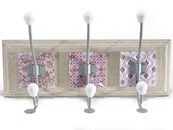 Wooden coat hanger with 3 ceramic hooks w-printed patterns