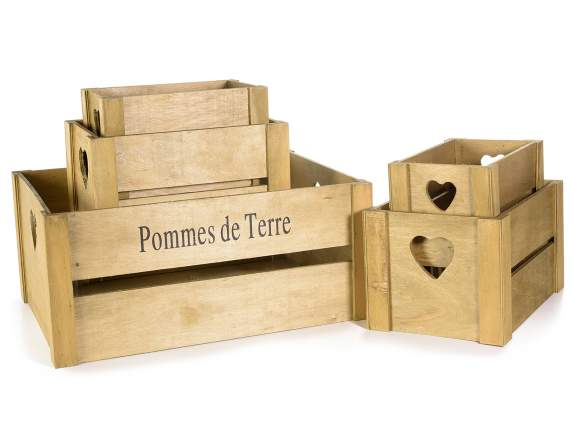 Set 5 wooden Pommes de terre boxes with heart-shaped notch
