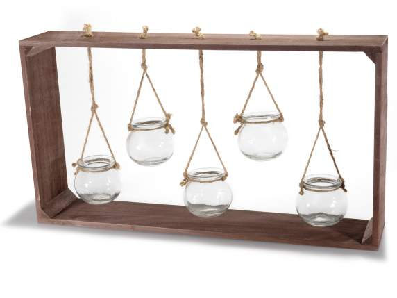 Wooden frame with 5 hanging glass container