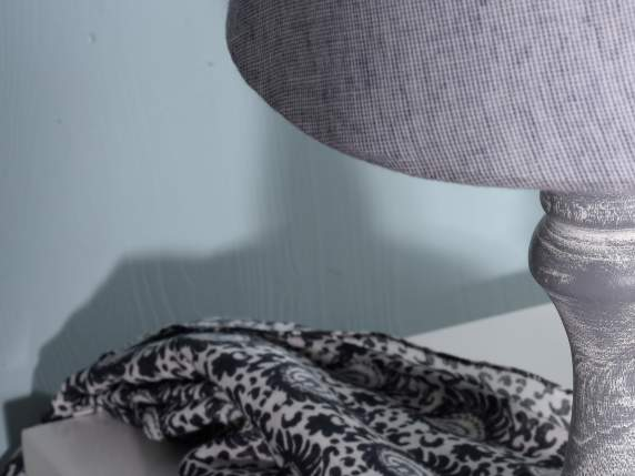 Wooden grey abat jour with dotted fabric lamp cover