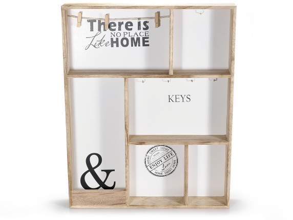 Wooden keyholder with white background and wooden clip
