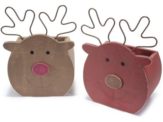 Wooden reindeer baskets with nose and ears