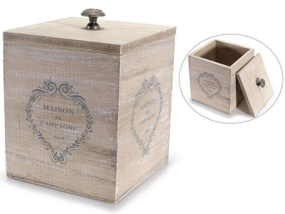 Wooden tea box with hearts decoration