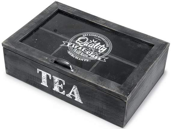 Wooden tea box 4 compartment with metal handle