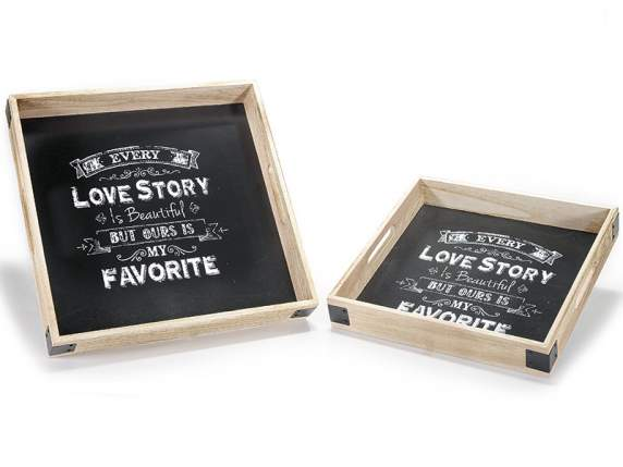 Set 2 wooden tray with handle and blackboard background