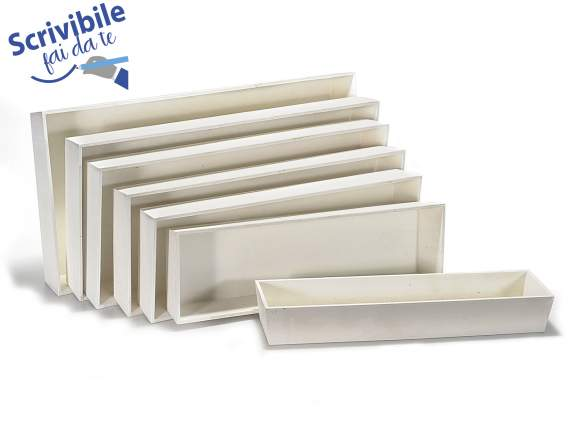 Set 7 wooden white trays