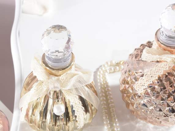 Worked glass perfume bottles with stopper