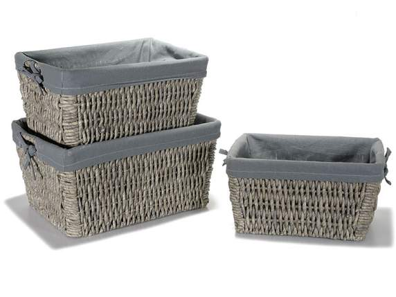 Set 3 woven wooden baskets -cloth covering