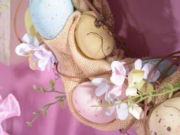 Easter wreath w-eggs, flowers and jute
