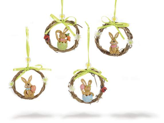 Wooden garlands w-resin bunny