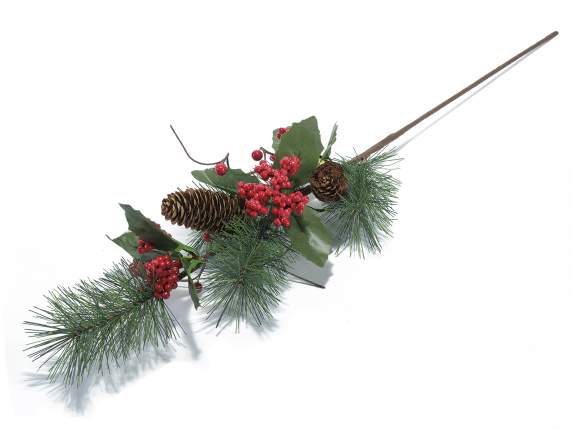 Christmas artificial branches with red berries