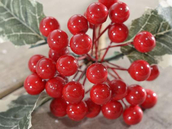 Christmas artificial red berries bunch and holly