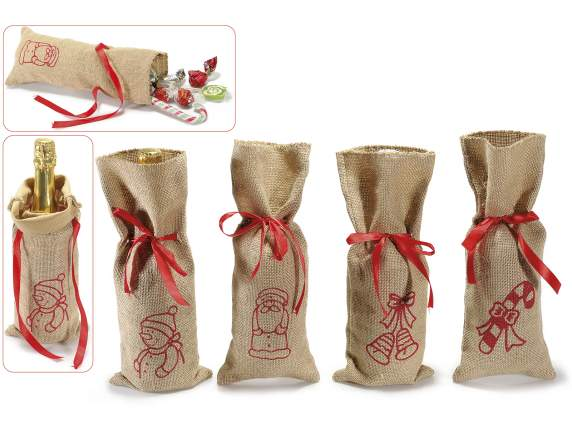 Christmas bags in jute with red bow