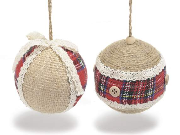 Christmas balls with lace and fabric decorations