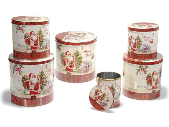 Set 6 cylindrical metal boxes with decorations