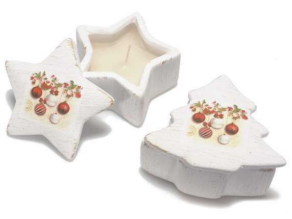 Box candle in ceramic with Xmas decorations