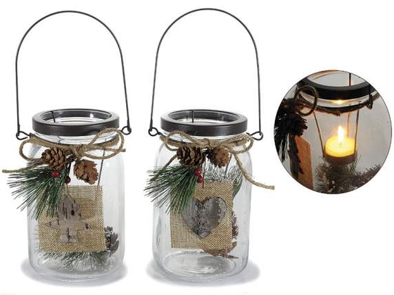 Glass tealight holder w-handle and jute decorations