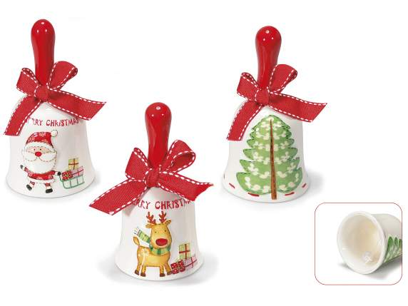 Bells in ceramic with Xmas decorations