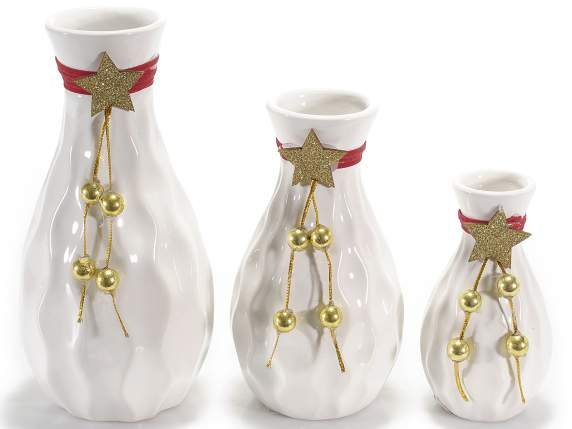 Set 3 vessels in white ceramic with Xmas decorations