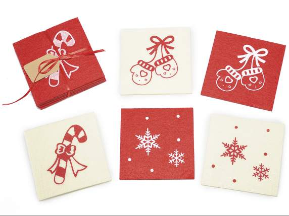 Conf 5 Christmas coasters in cloth