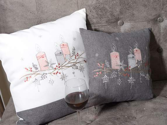 Set 2 fabric cushion covers w-Christmas embroidery