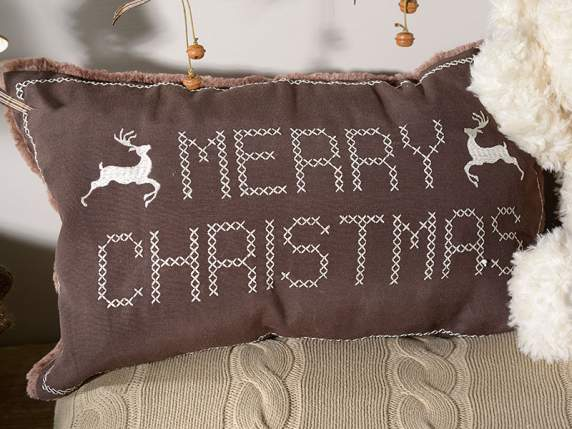 Cushion cover for Christmas w-cloth, fur and embroidery