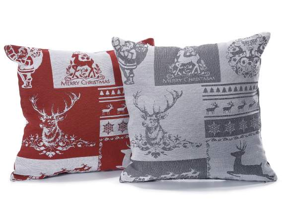 Christmas cushion covers in jacquard tissue