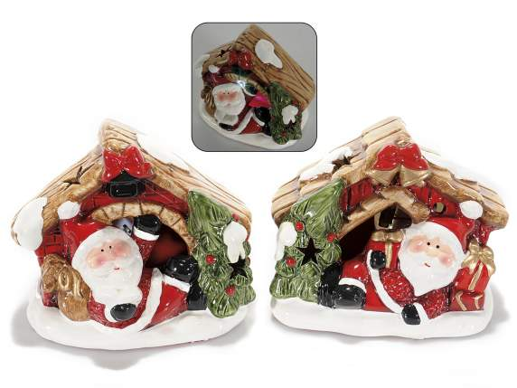 Ceramic decorative Xmas house with led light