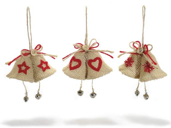 Decorative jute bells to hang